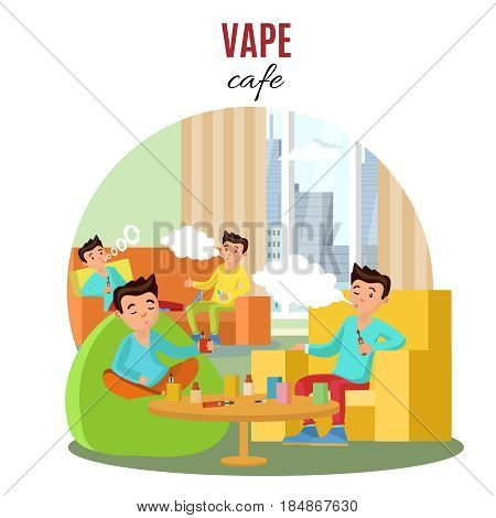 Colorful vape cafe concept with boys smoking electronic cigarettes and sitting in armchairs and sofa vector illustration