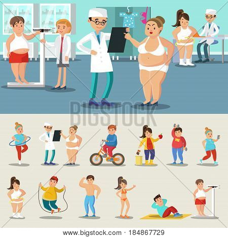 Fat people losing weight collection with nutritionist visits sport training physical exercises and diet isolated vector illustration