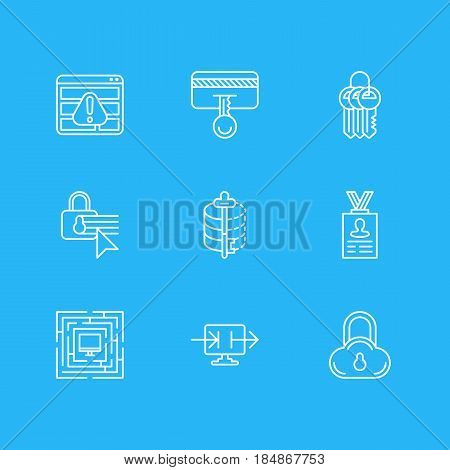 Vector Illustration Of 9 Internet Security Icons. Editable Pack Of Encoder, Account Data, Safe Storage And Other Elements.
