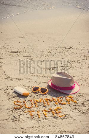 Vintage Photo, Inscription Summer Time, Sunglasses, Sun Lotion And Straw Hat On Sand At Beach, Summe
