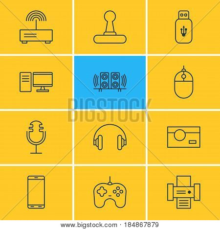 Vector Illustration Of 12 Hardware Icons. Editable Pack Of Headset, Joypad, Sound Recording And Other Elements.
