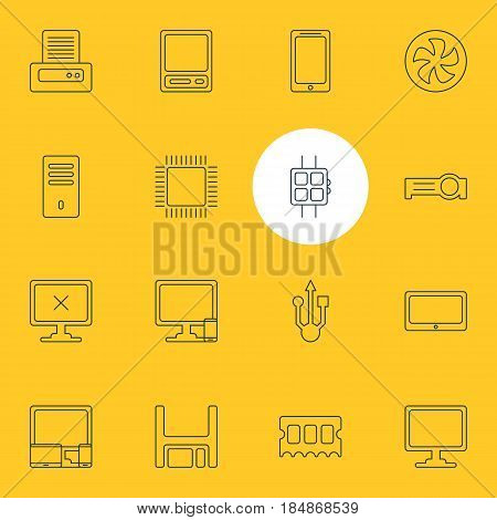 Vector Illustration Of 16 Computer Icons. Editable Pack Of Memory Chip, Diskette, Presentation And Other Elements.