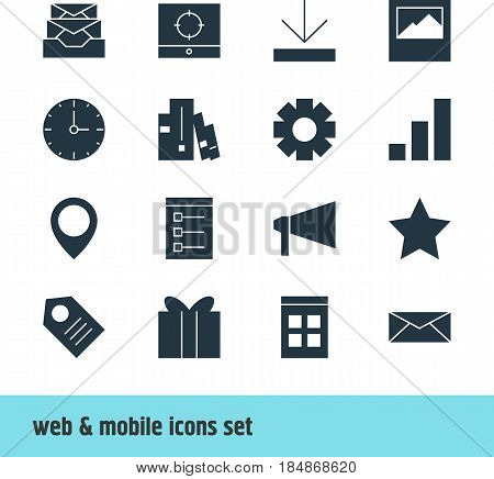 Vector Illustration Of 16 Online Icons. Editable Pack Of Board, Bookmark, Messages And Other Elements.