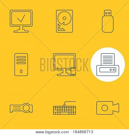 Vector Illustration Of 9 Laptop Icons. Editable Pack Of Qwerty Board, Phone Near Computer, Online Computer And Other Elements.