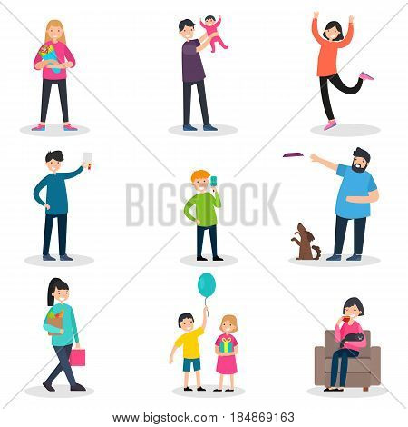 Happy people collection with men women children in different funny and enjoyable situations isolated vector illustration