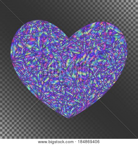 Isolated Object Blue Iridescent Heart for Invitation Congratulation Greeting Card Postcard. Decorative Element with Realistic Holographic Effect.