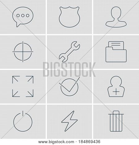 Vector Illustration Of 12 UI Icons. Editable Pack Of Register Account, Wide Monitor, Garbage And Other Elements.