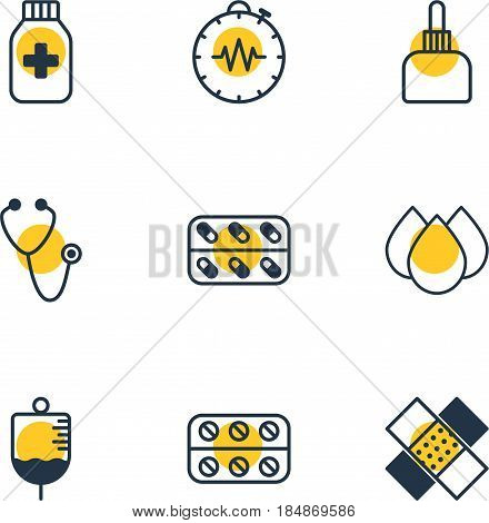 Vector Illustration Of 9 Medicine Icons. Editable Pack Of Pressure Gauge, Medicine Jar, Trickle And Other Elements.