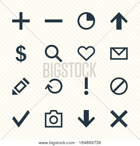 Vector Illustration Of 16 Interface Icons. Editable Pack Of Money Making, Pen, Emotion And Other Elements.