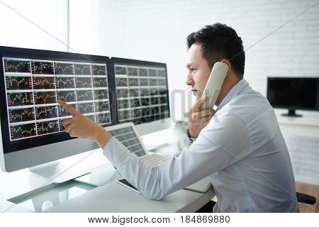 Trader analyzing stock market and calling on the phone