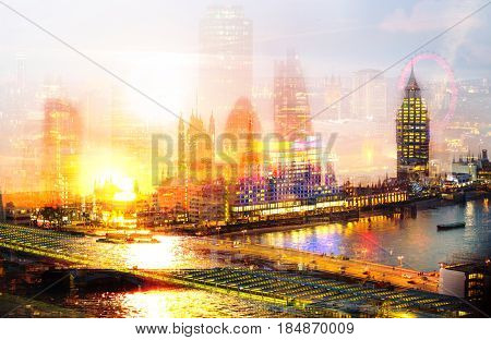 City of London multiple  exposure image includes skyscrapers of business district, Big Ben, London eye and River Thames at sunset. UK