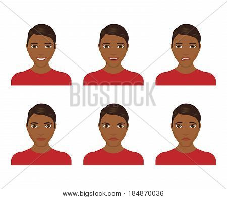 Young man face expressions composite isolated on white background. Vector illustration. Flat design. Man with different facial expressions set.