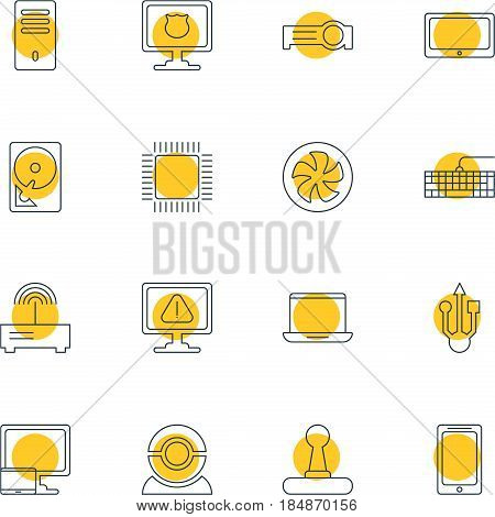 Vector Illustration Of 16 Computer Icons. Editable Pack Of Usb Icon, Web Camera, Antivirus And Other Elements.