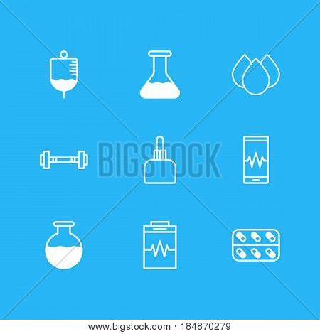 Vector Illustration Of 9 Medical Icons. Editable Pack Of Dumbbell, Phone Monitor, Vial And Other Elements.