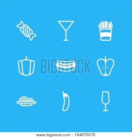 Vector Illustration Of 9 Food Icons. Editable Pack Of Jonagold, Potato, Streetfood And Other Elements.
