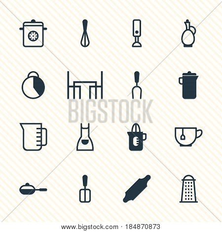 Vector Illustration Of 16 Restaurant Icons. Editable Pack Of Dinner Table, Steamer, Bakery Roller And Other Elements.