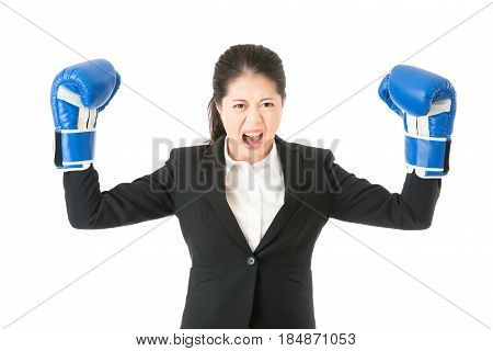 Boxing Business Woman Showing Aggressive