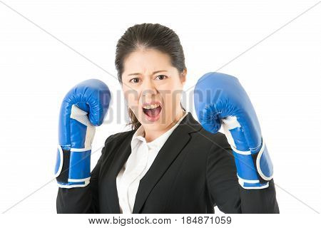 Crazy Businesswoman Pretending To Fight