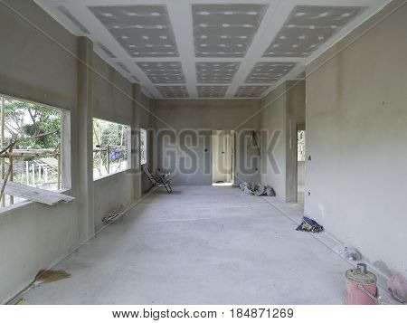 The building structure home interior from concrete