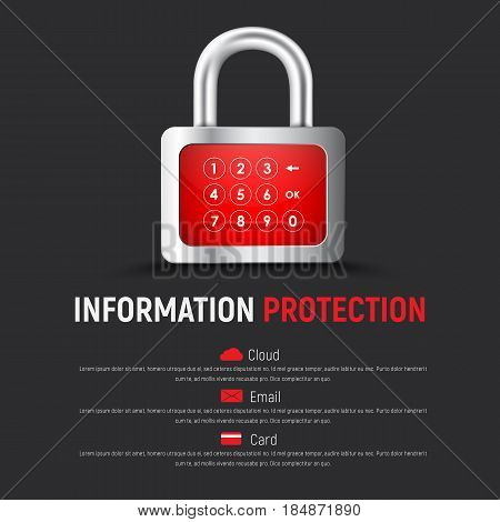 Template Of A Square Black Web Banner With A Padlock And A Digital Display For Pin Code