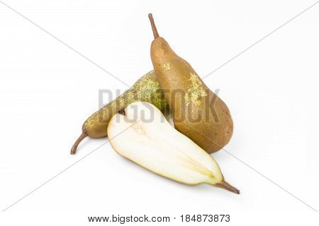 Three Abate Fetel pears isolated on white background. Close up.