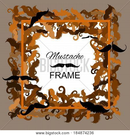 Hipster Mustache Vector Frame. Border of Various Types of Whiskers