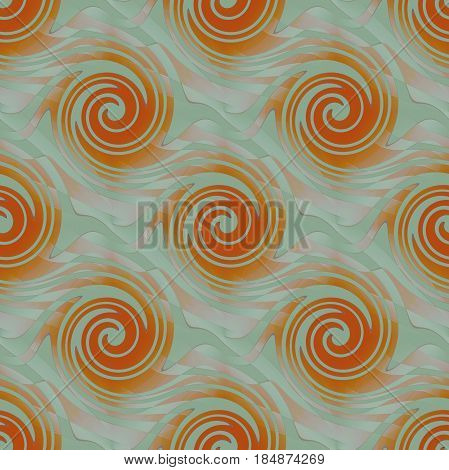 Abstract geometric background. Regular spirals pattern in orange, light gray, pink and pale green shades diagonally.