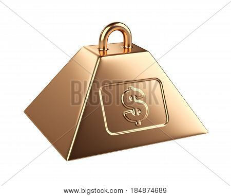 Weight with dollar symbol. 3d illustration isolated on a white background.