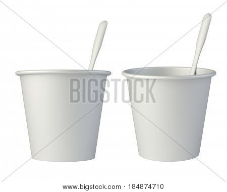 Paper coffee cups with stirring stick side view. 3d illustration isolated on a white background.