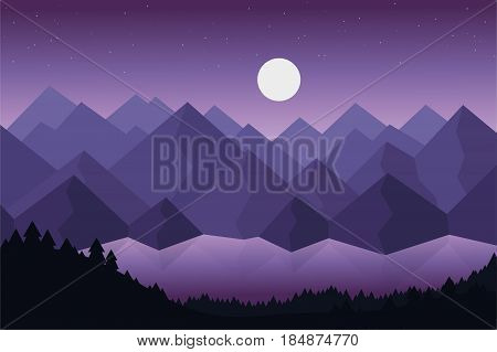 Cartoon vector illustration of mountain landscape with lake or river behind dense forests under dramatic violet sky with stars and moon with reflection on the surface