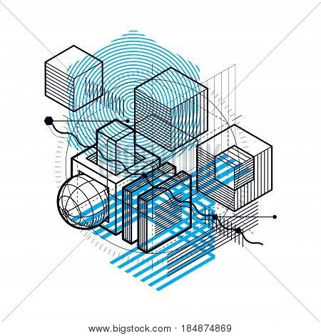 Isometric abstract background with lines and other different elements vector abstract template. Composition of cubes hexagons squares rectangles and different abstract elements.