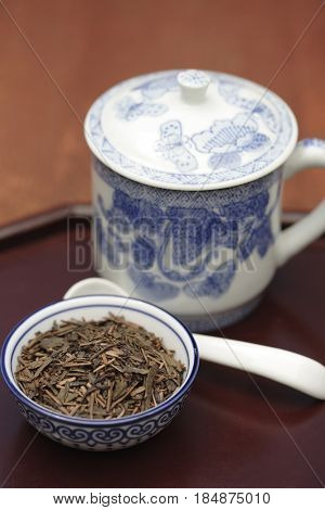 Sen cha tea in bowl