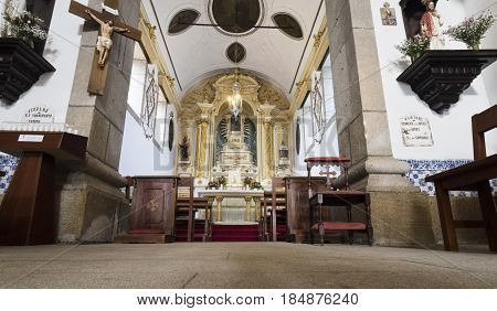 PONTE DE LIMA, PORTUGAL - OCTOBER 7, 2016: View of the chancel of the baroque church of Santo Antonio da Torre Velha in Ponte de Lima Portugal