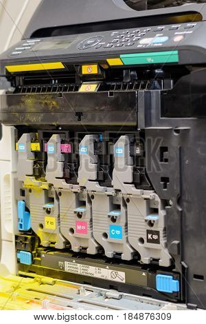 View of the inner life of a laser printer with color toner