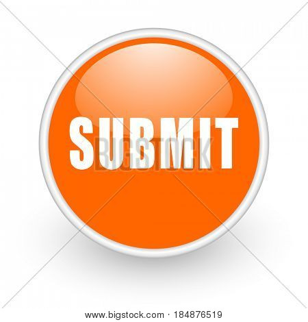Submit modern design glossy orange web icon on white background.