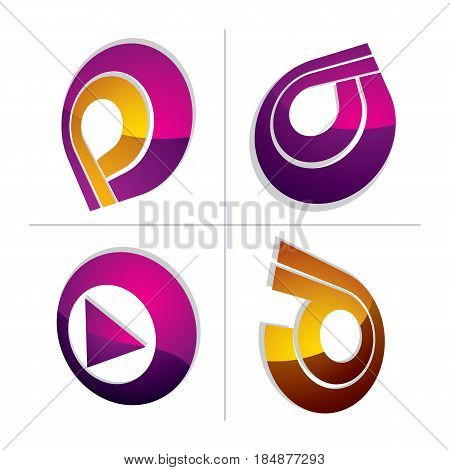 Set of three-dimensional abstract icons play sign. 3d vector push button multimedia arrow symbol isolated on white background. Collection of graphic elements.