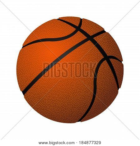 Basketball spherical inflated leather ball realistic vector illustration isolated on white background, object for game playing