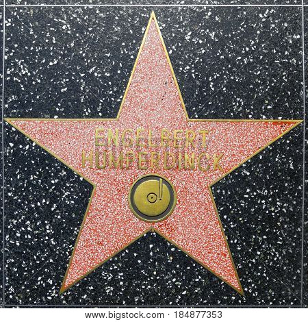 Engelbert Humperdicks Star On Hollywood Walk Of Fame