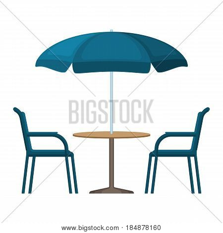 Bistro round blue wooden table with open umbrella tent and two chairs vector illustration isolated on white background