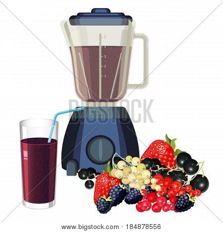 Blender and glass of smoothie made of healthy fruits. Juice made of strawberry, raspberry and blackberry, ripe mulberry vector illustration