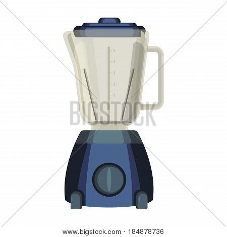 Blender or liquidiser kitchen appliance used to mix or emulsify food vector illustration isolated on white. Jar with a rotating metal blade at bottom