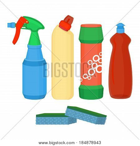 Cleaning spray, chemical washing liquid, detergent powder, bleach bottle with sponge, vector illustration set isolated on white