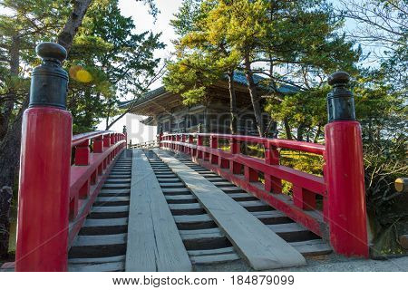 Matsushima and red bridge in Japanese temple