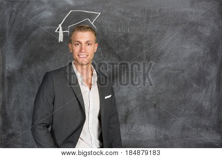 Confident man working at his place of business