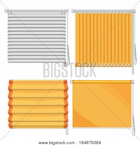 Set of horizontal and vertical window blinds vector illustration isolated on white. Roll up shutters, protective curtains from sunlights