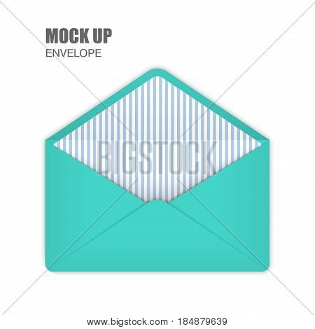 Aquamarine Open Empy Envelopes with lightblue stripes inside. Template for Your Business. Vector illustration