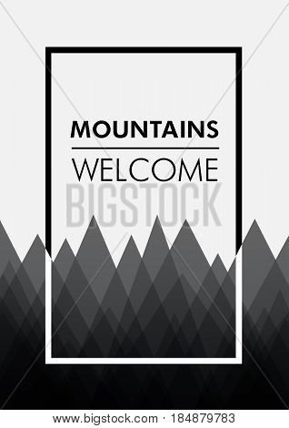 Poster template with mountines. Design for print. Vector illustration.