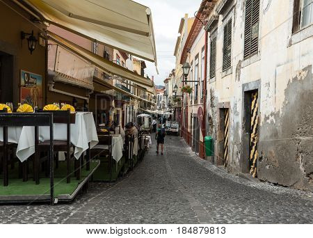 FUNCHAL MADEIRA PORTUGAL - SEPTEMBER 4 2016: Santa Maria Street in Funchal town on Madeira Island. Portugal