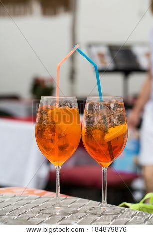 Traditional Spritz aperitif in a bar in Italy