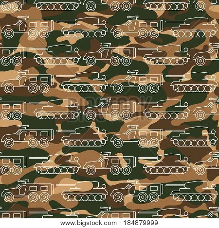 Seamless pattern with military machines on camouflage background. Can be used for graphic design, textile design or web design.